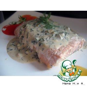 Рецепт Запеченный в бумаге лосось под сливочным соусом