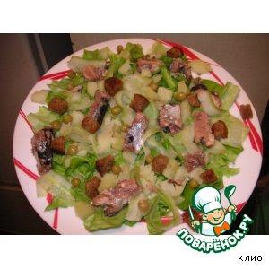 """Рецепт Салат """"Пикадилли"""" с ржаными чесночными сухариками"""
