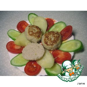Рецепт Куриные котлетки с яблочком и сыром
