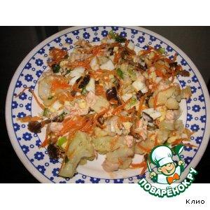 Рецепт Салат с цветной капустой и грибами