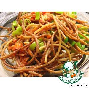 Жареные спагетти с овощами простой рецепт с фотографиями пошагово