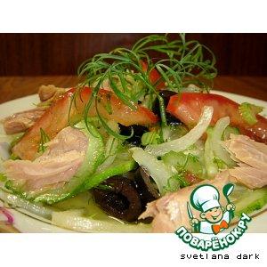 Рецепт Овощной салат с консервированным тунцом