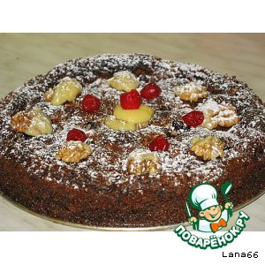 Шоколадно-вишневый пирог с грецкими орехами домашний пошаговый рецепт с фото как приготовить