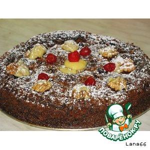 Рецепт Шоколадно-вишневый пирог с грецкими орехами
