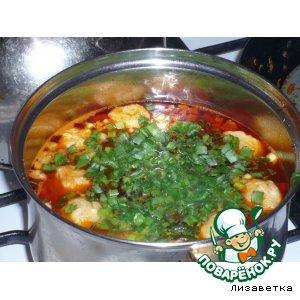 Рецепт Суп с колбасой и сырными клецками