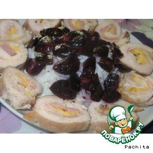 Рецепт Куриные рулеты в виноградном соке