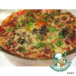 Рецепт Гнезда из спагетти с шампиньонами
