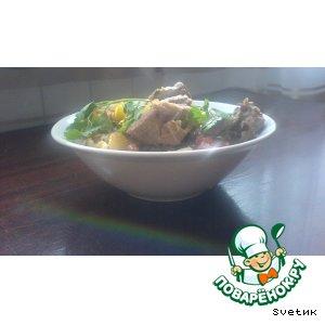 Рецепт Мясо на пивном бульоне со свежими овощами и зеленью