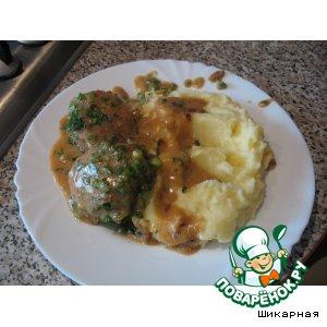 Рецепт: Тефтели и пюре с зеленью