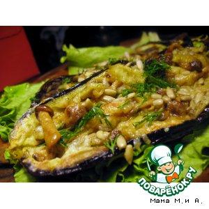 Рецепт Баклажановые лодочки с опятами