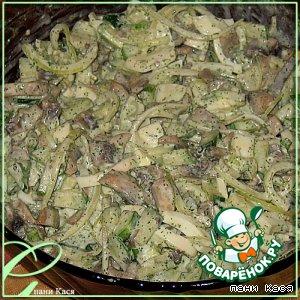 Рецепт Салат с грибами и маринованным луком
