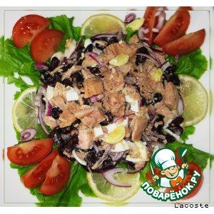 Домашний рецепт с фотографиями Салат из красной фасоли с тунцом