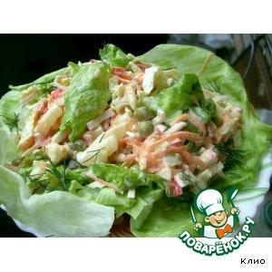 Cалатно-крабовый салат простой рецепт приготовления с фото готовим