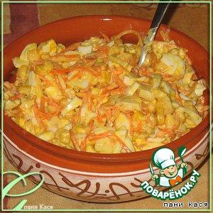 Рецепт Сытный салат с курицей и корейской морковью