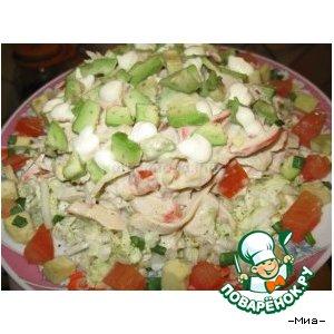Рецепт Салат из крабового мяса на овощной подушке