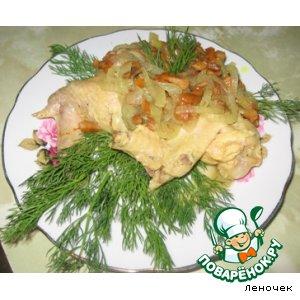 Рецепт Куриные крылышки тушеные с грибами и луком