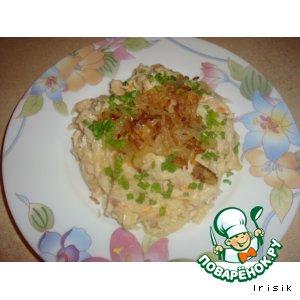 Рецепт Макароны с сыром, капустой и куриным филе