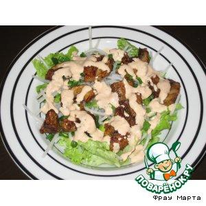 Рецепт Салатик из рисовой лапши и грибов в кляре