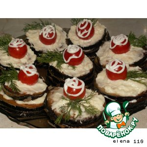 Рецепт Башенки из баклажанов с сыром и помидорами черри