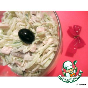 Рецепт Салат из редьки с курочкой и шампиньонами