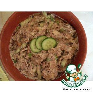 Рецепт Салат из тунца с блинчиками