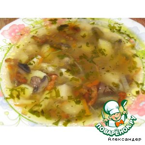 Рецепт Суп с лисичками и шампиньонами