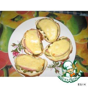"""Рецепт """"Просто завтрак""""-запеченные бутерброды с ветчиной"""