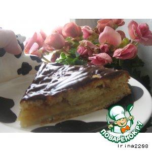 Рецепт Сметанный бисквит с яблочной начинкой