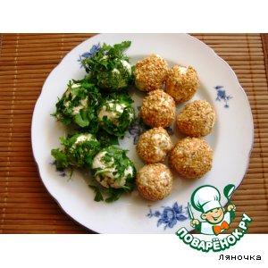 Рецепт Сырные шарики с зеленью и кунжутом