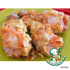 Рецепт Голень куриная под морковно-сельдереевой шапкой