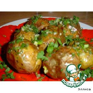 Рецепт Печеная картошечка с чесноком и зеленью