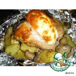 Рецепт Пряная курочка с картошкой и грибами
