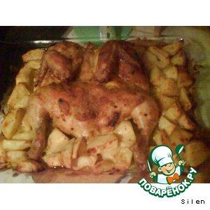 Рецепт Картофель с курицей в духовке