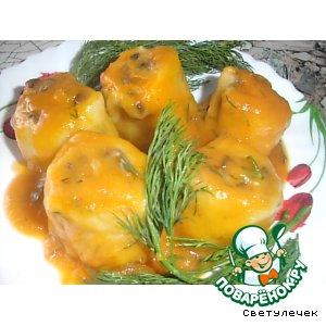 Рецепт Грибные рулетики в луковом соусе