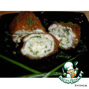 Рецепт Рулетики из куриной грудки с плавленым сыром и зеленью