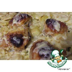 Рецепт Картофель с куриными бедрышками, запечeнный в духовке