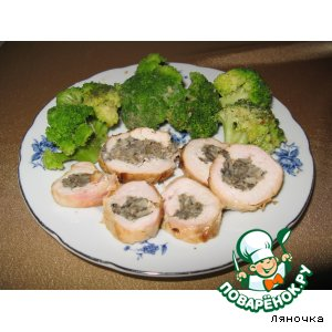 Рецепт Куриный рулет с грибами