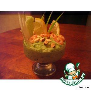 Рецепт Крем-десерт из авокадо и яблок с креветками