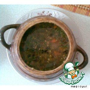Рецепт Зеленый борщ в горшочках