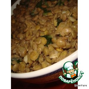 Рецепт Теплый салат из зеленой чечевицы со шпинатом
