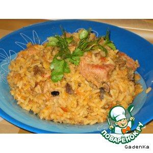 Рецепт Свинина с рисом, чечевицей и грибами