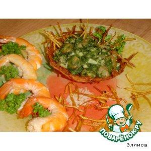 Рецепт Креветки в зеленом соусе
