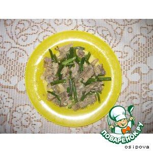 Рецепт Телятина в сметане с чесночными стрелками