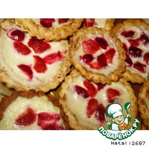 Рецепт Мраморные тарталетки с ягодным крепом
