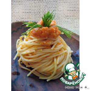 Рецепт Спагетти под морковно-ореховым соусом