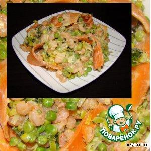 Рецепт Креветки с зеленым горошком