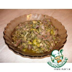 Рецепт Куриные сердечки в баклажанах