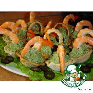 Рецепт Слоеные корзиночки с креветками и шпинатом