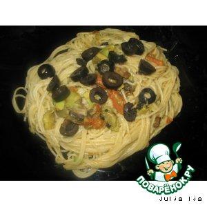 Рецепт Спагетти с шампиньонами и авокадо