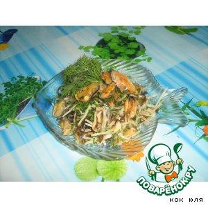 Рецепт Капустно-мидийный салат